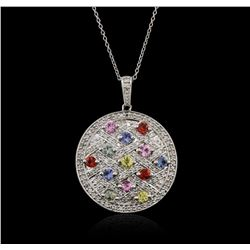 14KT White Gold 1.87ctw Sapphire and Diamond Pendant With Chain
