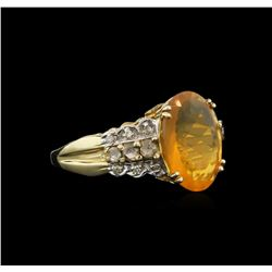 3.59ct Opal and Diamond Ring - 14KT Yellow and White Gold