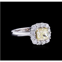 2.11ctw Fancy Light Yellow Diamond Ring - 14KT Two-Tone Gold