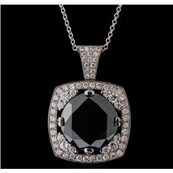 14KT White Gold 18.84ctw Black Diamond Pendant With Chain