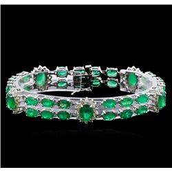 19.60ctw Emerald and Diamond Bracelet - 14KT White Gold