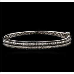 2.87ctw Black Diamond Bangle Bracelet - 14KT White Gold