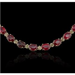 14KT Yellow Gold 52.66ctw Ruby and Diamond Necklace