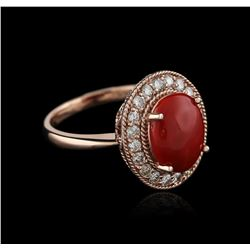 14KT Rose Gold 2.80ct Coral and Diamond Ring