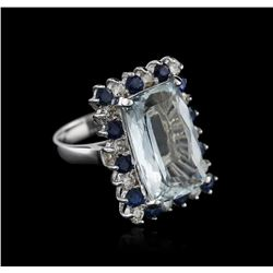 14KT White Gold 9.36ct Aquamarine, Sapphire and Diamond Ring