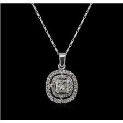14KT White Gold 0.95ctw Diamond Pendant With Chain