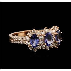14KT Rose Gold 1.32ctw Tanzanite and Diamond Ring