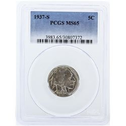 1937-S PCGS Graded MS65 Buffalo Nickel Coin
