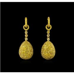 8.24ctw Fancy Green-Yellow Diamond Earrings - 18KT Yellow Gold