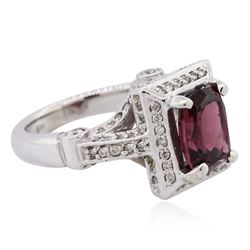 14KT White Gold 3.09ct Rhodolite Garnet and Diamond Ring