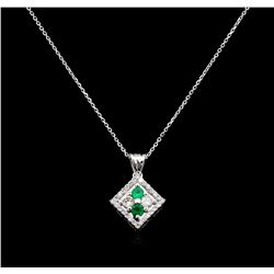 0.15ctw Emerald and Diamond Pendant With Chain - 14KT White Gold