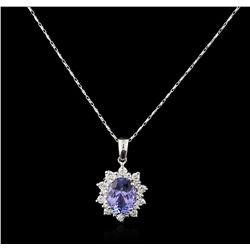 14KT White Gold 3.14ct Tanzanite and Diamond Pendant With Chain