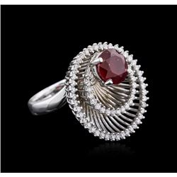 14KT White Gold 2.58ct Ruby and Diamond Ring