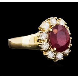 14KT Yellow Gold 3.84ct Ruby and Diamond Ring