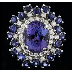 14KT White Gold 4.93ct Tanzanite, Sapphire and Diamond Ring