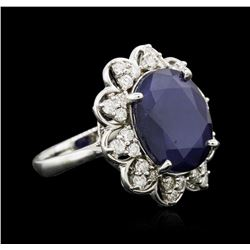 14KT White Gold 10.12ct Sapphire and Diamond Ring