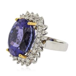 14KT White Gold GIA Certified 22.13ct Tanzanite and Diamond Ring