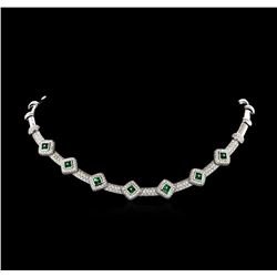 6.15ctw Diamond and Emerald Necklace - 18KT White Gold