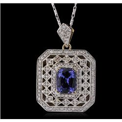 14KT Yellow Gold 2.01ct Tanzanite and Diamond Pendant with Chain
