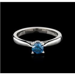 14KT White Gold 0.47ct Round Cut Fancy Blue Diamond Solitaire Ring