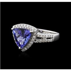 14KT White Gold 2.21ct Tanzanite and Diamond Ring