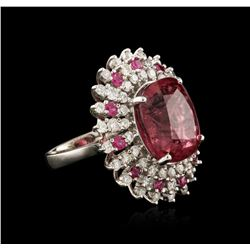 18KT White Gold 17.06ct Pink Tourmaline, Ruby and Diamond Ring
