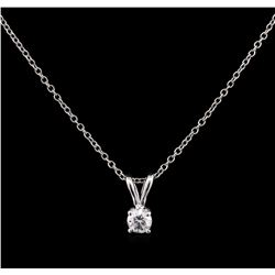 0.19ct Diamond Pendant With Chain - 14KT White Gold