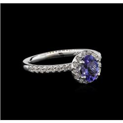 0.68ct Tanzanite and Diamond Ring - 14KT White Gold
