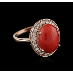 14KT Rose Gold 5.36ct Coral and Diamond Ring