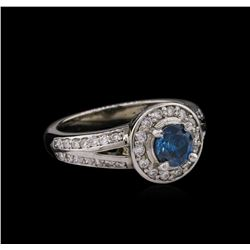 14KT White Gold 1.05ctw Fancy Blue Diamond Ring