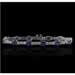 14KT White Gold 6.48ctw Tanzanite and Diamond Tennis Bracelet