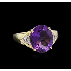 5.50ct Amethyst and Diamond Ring - 14KT Yellow Gold