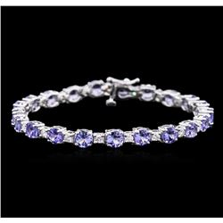 9.45ctw Tanzanite and Diamond Bracelet - 14KT White Gold