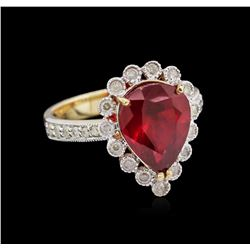 4.38ct Ruby and Diamond Ring - 14KT Yellow Gold