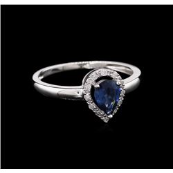 0.69ct Blue Sapphire and Diamond Ring - 14KT White Gold