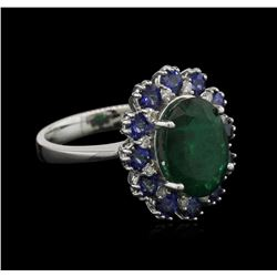 3.48ct Emerald, Sapphire and Diamond Ring - 14KT White Gold