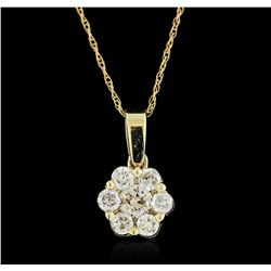 14KT Yellow Gold 0.63ctw Diamond Pendant With Chain