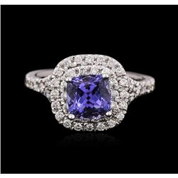 14KT White Gold 1.47ct Tanzanite and Diamond Ring