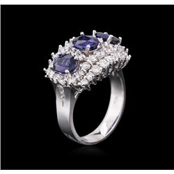14KT White Gold 2.88ctw Sapphire and Diamond Ring