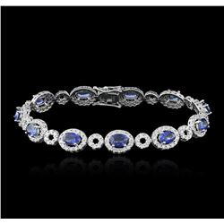 14KT White Gold 6.50ctw Sapphire and Diamond Bracelet
