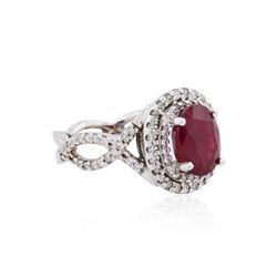 14KT White Gold GIA Certified 3.84ct Ruby and Diamond Ring