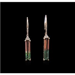4.79ctw Bi-Color Tourmaline and Diamond Earrings - 14KT Rose Gold