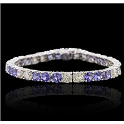 14KT White Gold 10.50ctw Tanzanite and Diamond Bracelet