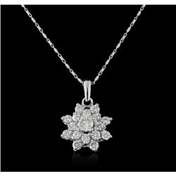 14KT White Gold 1.41ctw Diamond Pendant With Chain