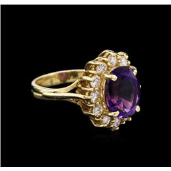 2.87ct Amethyst and Diamond Ring - 14KT Yellow Gold