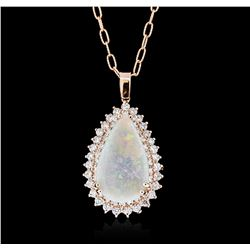 14KT Rose Gold 6.23ct Opal and Diamond Pendant With Chain
