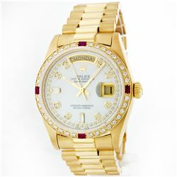 Rolex President 18KT Gold 1.00ctw Diamond And Ruby Men's Watch
