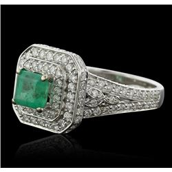 14KT White Gold 0.83ct Emerald and Diamond Ring
