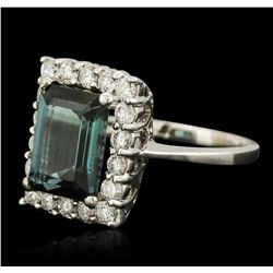 14KT White Gold 4.30ct Tourmaline and Diamond Ring