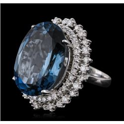 14KT White Gold 22.83ct Topaz and Diamond Ring